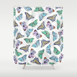 Colorful Butterflies Watercolor Painting Shower Curtain