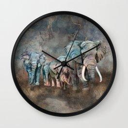 Elephant herd Digital Art Wall Clock