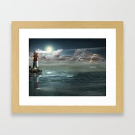 Lighthouse Under Back Light Framed Art Print