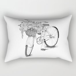 Vintage bike with flowers in basket. Rectangular Pillow