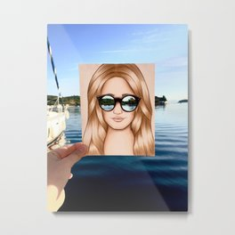 The Sunglass Girl Drawing Metal Print