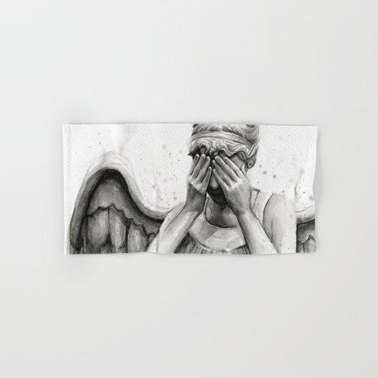 Weeping Angel Watercolor Painting Hand & Bath Towel