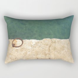 Teal waters and a rusty ring in a dock Rectangular Pillow