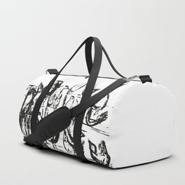 Birds white and black drawing illustration Duffle Bag