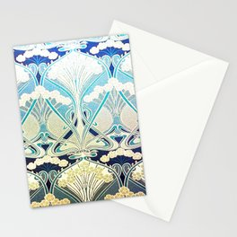 silver art nouveau Stationery Cards