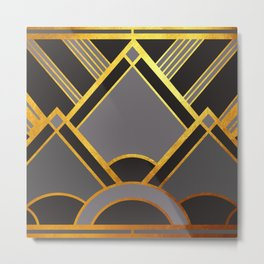 Art Deco New Tomorrow In Grey Metal Print