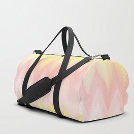 Geometrical blush pink yellow watercolor ikat pattern Duffle Bag