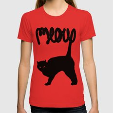 Meow X-LARGE Womens Fitted Tee Red
