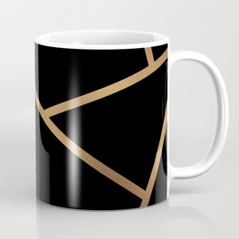 Black and Gold Fragments - Geometric Design Coffee Mug
