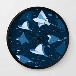 Blue stingrays pattern Wall Clock