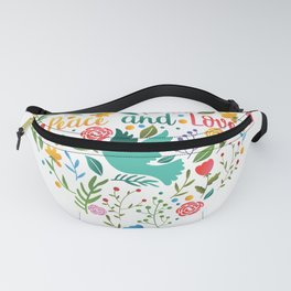 Peace and love floral heart illustration Fanny Pack