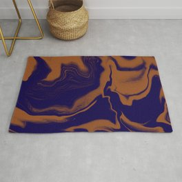 Navy Blue and Cognac Marble Abstract Design  Rug