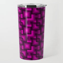 A chaotic mosaic of convex squares with pink intersecting bright rectangles and highlights. Travel Mug