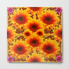 Golden Sunflowers on Sunflowers Floral Patterns Metal Print