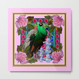 PINK ON  PINK ROSES & GREEN PEACOCK GARDEN FLORAL Metal Print