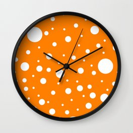 Mixed Polka Dots - White on Orange Wall Clock