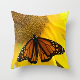 Monarch and Sunflower Throw Pillow