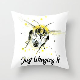 Just Winging It - Punny Bee Throw Pillow