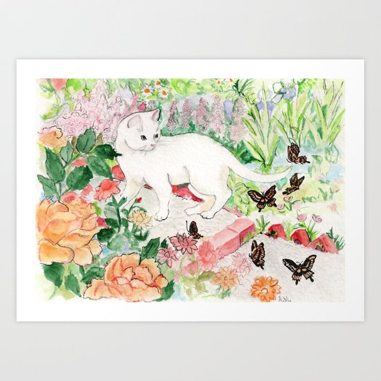White Cat in a Garden Art Print