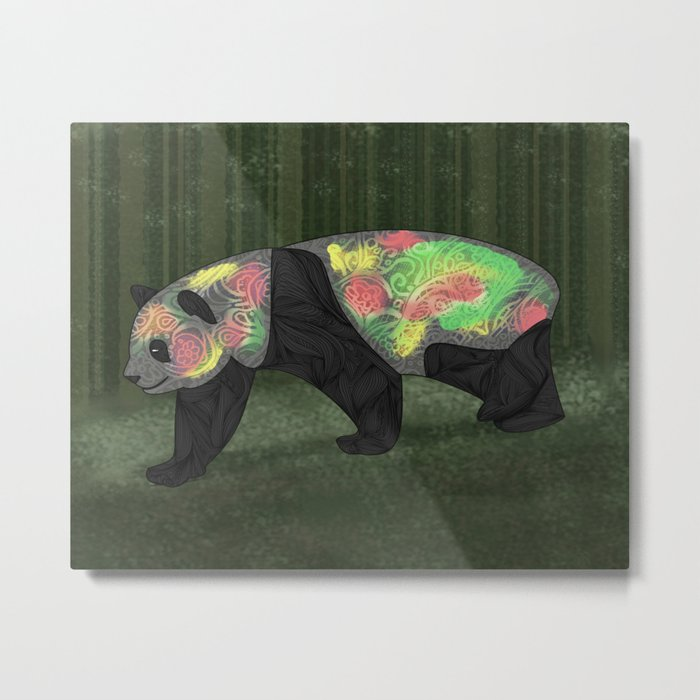 Panda Night Metal Print