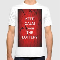 Keep Calm I Won The Lottery Mens Fitted Tee MEDIUM White