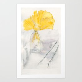 Ginkgo and Marble Art Print
