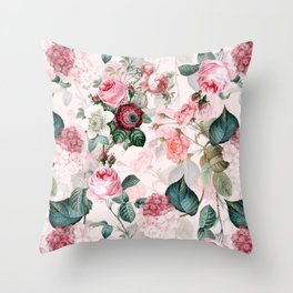 Vintage & Shabby Chic - Summer Blush Roses Flower Garden Throw Pillow