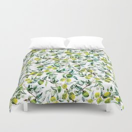 Lime Tree Branch Pattern Watercolor Duvet Cover