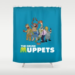 Drunk Muppets Cartoon Parody Shower Curtain
