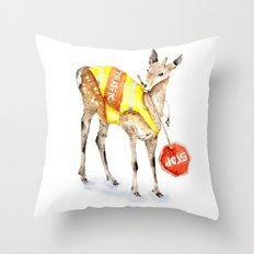 Traffic Controller Deer in High Visibility Vest Throw Pillow