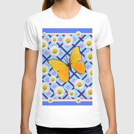 Yellow Butterfly on  Blue-pink Shasta Daisy Abstract Pattern T-shirt