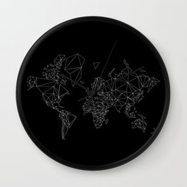 black and white world map low poly illustration Wall Clock