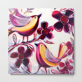 Finches in the Flowers I Metal Print