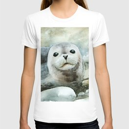 Curious seal on the pebbles T-shirt