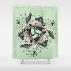Horses and birds Shower Curtain