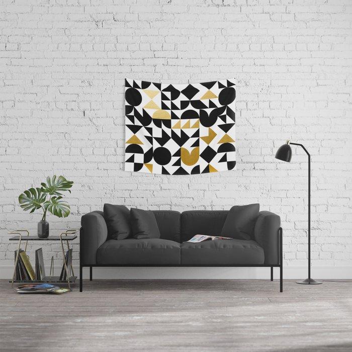 geometric black & gold Wall Tapestry