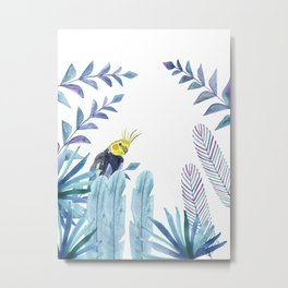 Cockatiel with tropical foliage Metal Print