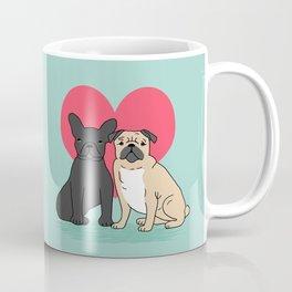 Pug French Bulldog valentine love cute gift for dog person hearts pastel mint kids children puppy Coffee Mug