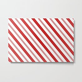 Red and White Candy Cane Stripes, Thick and Thin Angled Lines, Festive Christmas Metal Print