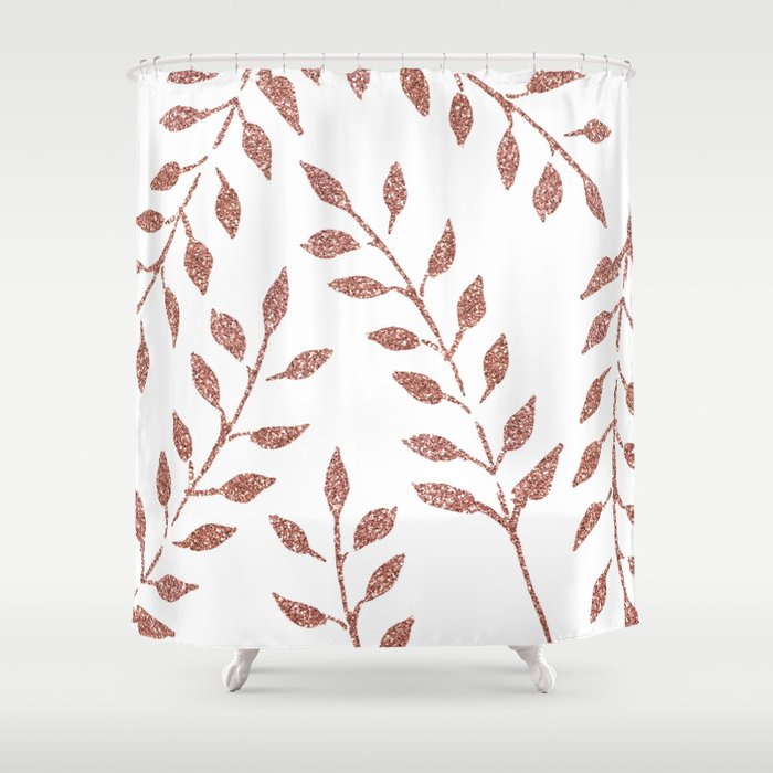 Garden Vines Pink Rose Gold Glitter Shower Curtain