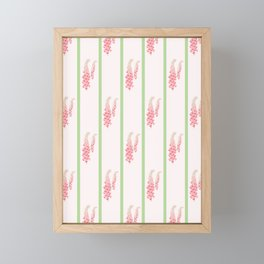 Stripes and Foxglove Pink and Green Repeat Pattern Framed Mini Art Print