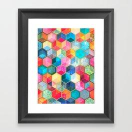 Crystal Bohemian Honeycomb Cubes - colorful hexagon pattern Framed Art Print