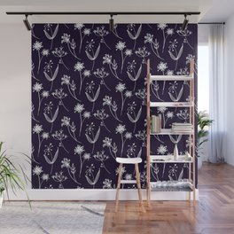 Line Drawn Botanicals on Navy Wall Mural