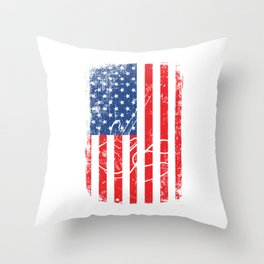 American Flag With A Minimal Illustration Of A Guitar T-shirt Design White Musician Band Muscians Throw Pillow