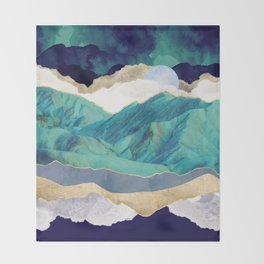 Teal Mountains Throw Blanket