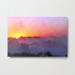 Sunrise with morning fog at a River in Africa  Metal Print