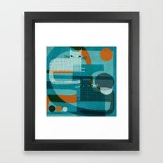 CATS ON BLUE WITH ORANGE Framed Art Print