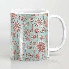 Teal sea flower pattern Coffee Mug