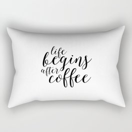 PRINTABLE Art, Life Begins After Coffee,But First coffee,Kitchen Decor,Quote prints,Typography Art Rectangular Pillow