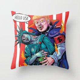 HELLO USA Throw Pillow